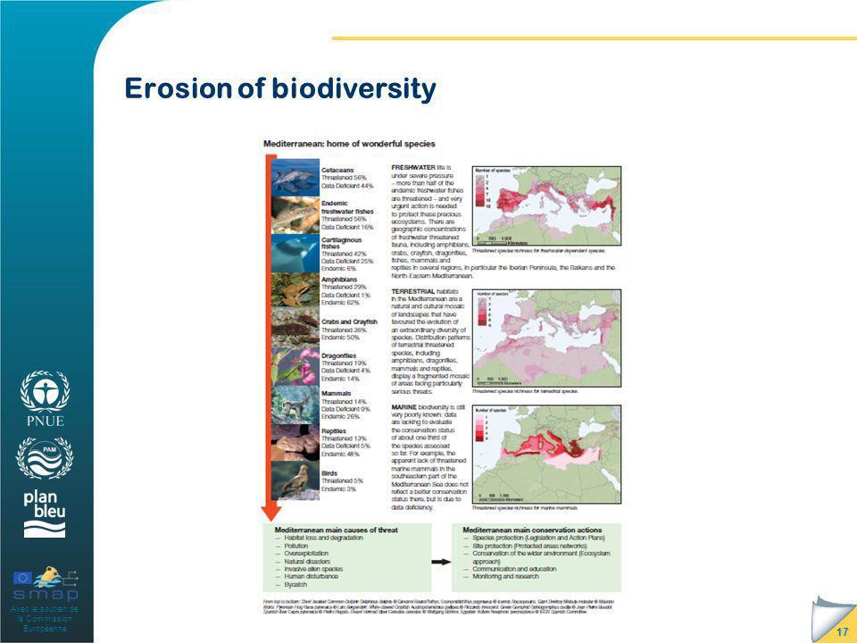 Avec le soutien de la Commission Européenne Erosion of biodiversity 17
