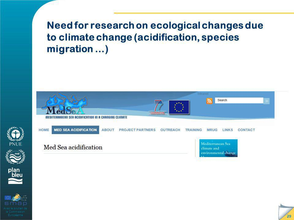 Avec le soutien de la Commission Européenne Need for research on ecological changes due to climate change (acidification, species migration …) 29