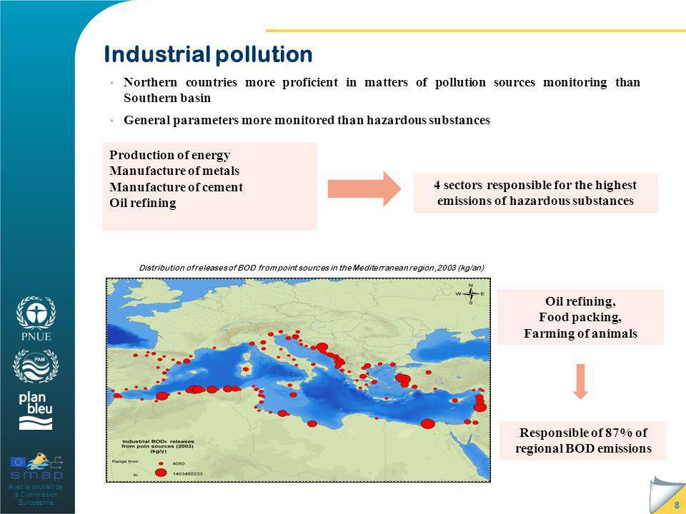 Avec le soutien de la Commission Européenne Industrial pollution 8 Northern countries more proficient in matters of pollution sources monitoring than