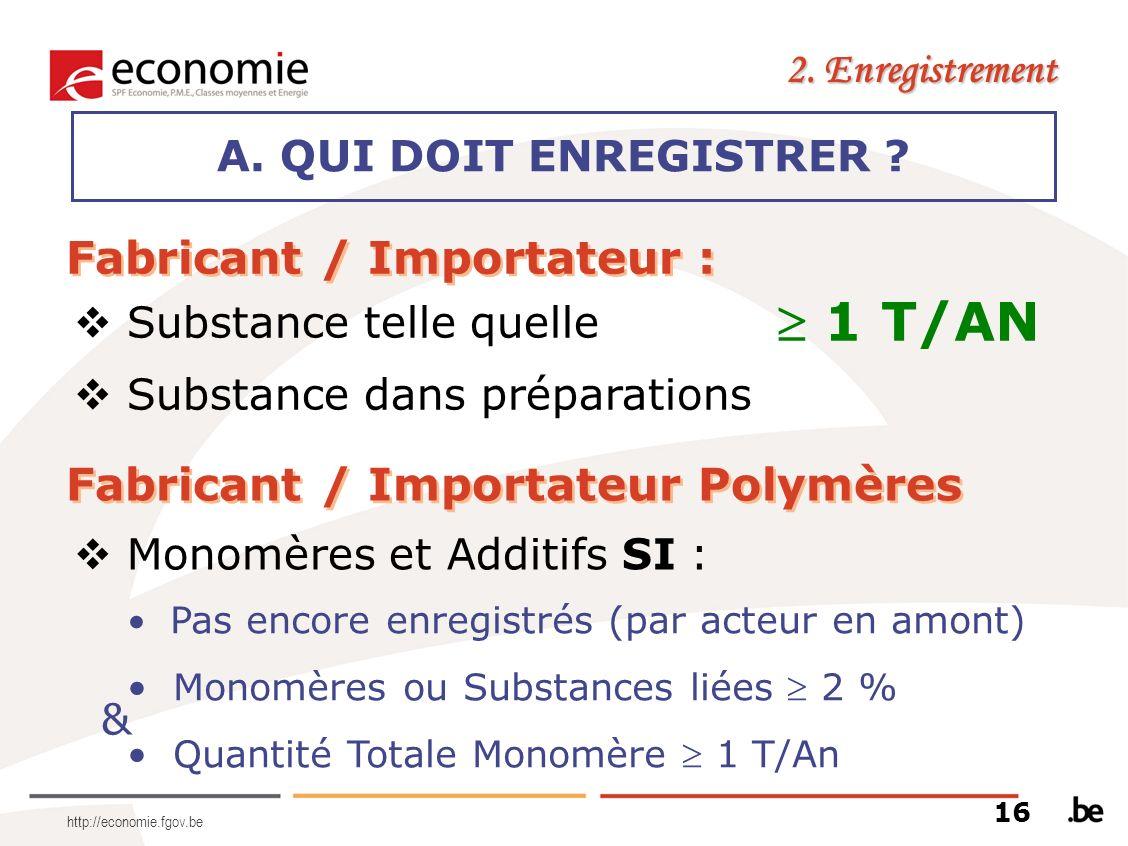 http://economie.fgov.be A. QUI DOIT ENREGISTRER ? 2. Enregistrement Fabricant / Importateur : 1 T/AN Substance telle quelle Substance dans préparation