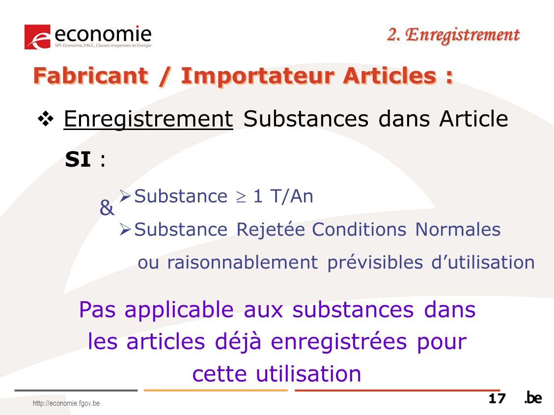 http://economie.fgov.be 2. Enregistrement Fabricant / Importateur Articles : Enregistrement Substances dans Article SI : & Substance 1 T/An Substance