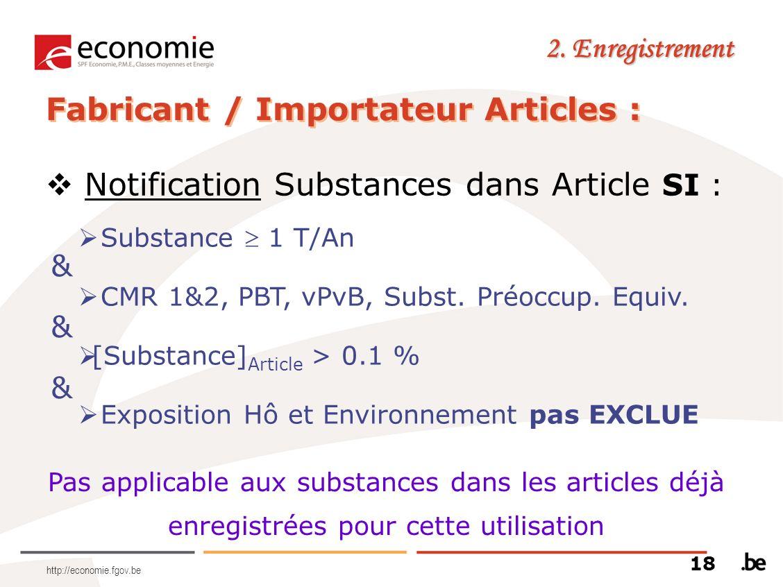 http://economie.fgov.be 2. Enregistrement Fabricant / Importateur Articles : Notification Substances dans Article SI : & Substance 1 T/An CMR 1&2, PBT