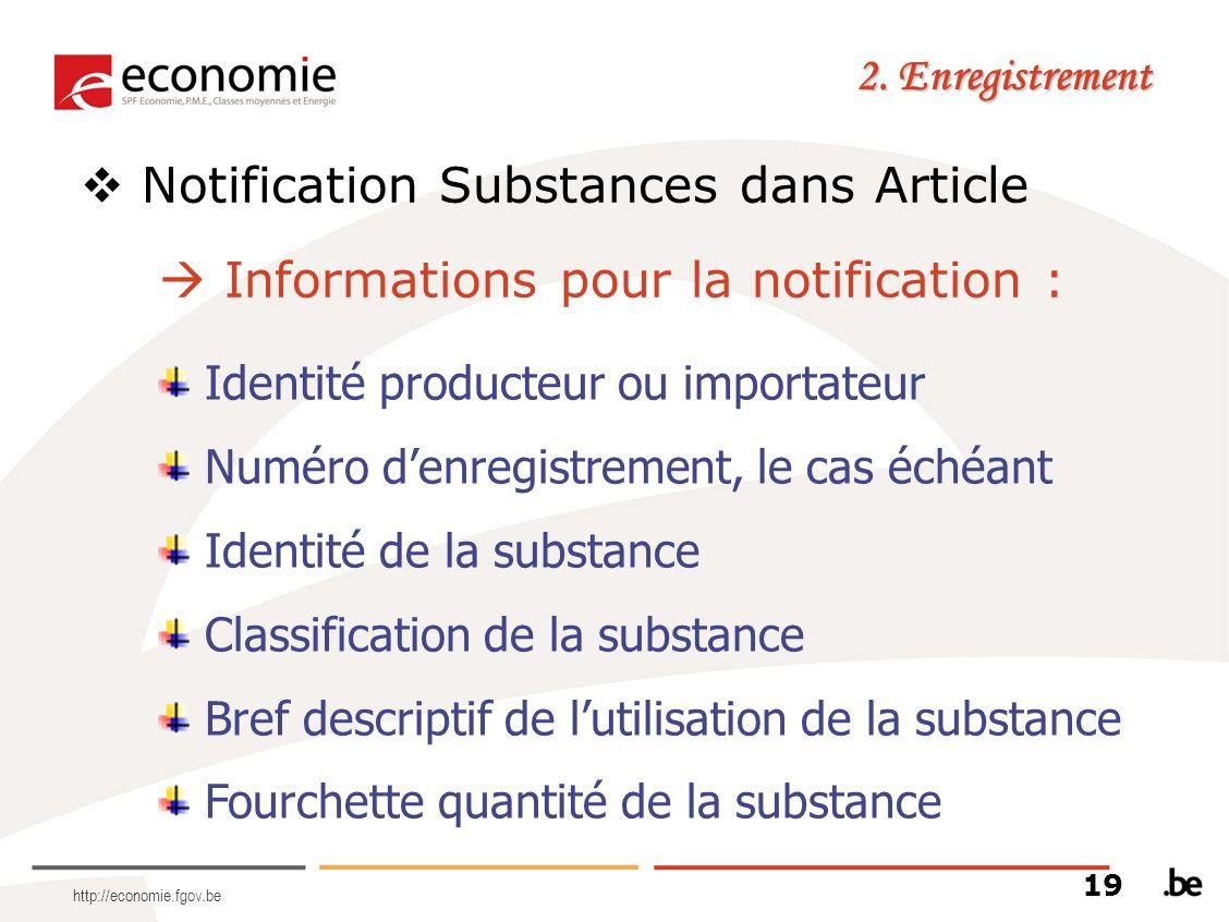 http://economie.fgov.be 2. Enregistrement Notification Substances dans Article Informations pour la notification : Identité producteur ou importateur