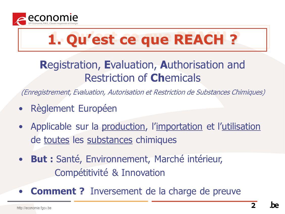 http://economie.fgov.be 1. Quest ce que REACH ? 2 Registration, Evaluation, Authorisation and Restriction of Chemicals (Enregistrement, Evaluation, Au