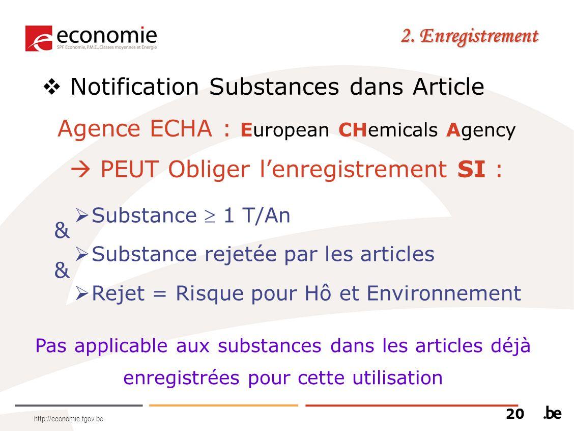 http://economie.fgov.be 2. Enregistrement Notification Substances dans Article Agence ECHA : European CHemicals Agency PEUT Obliger lenregistrement SI