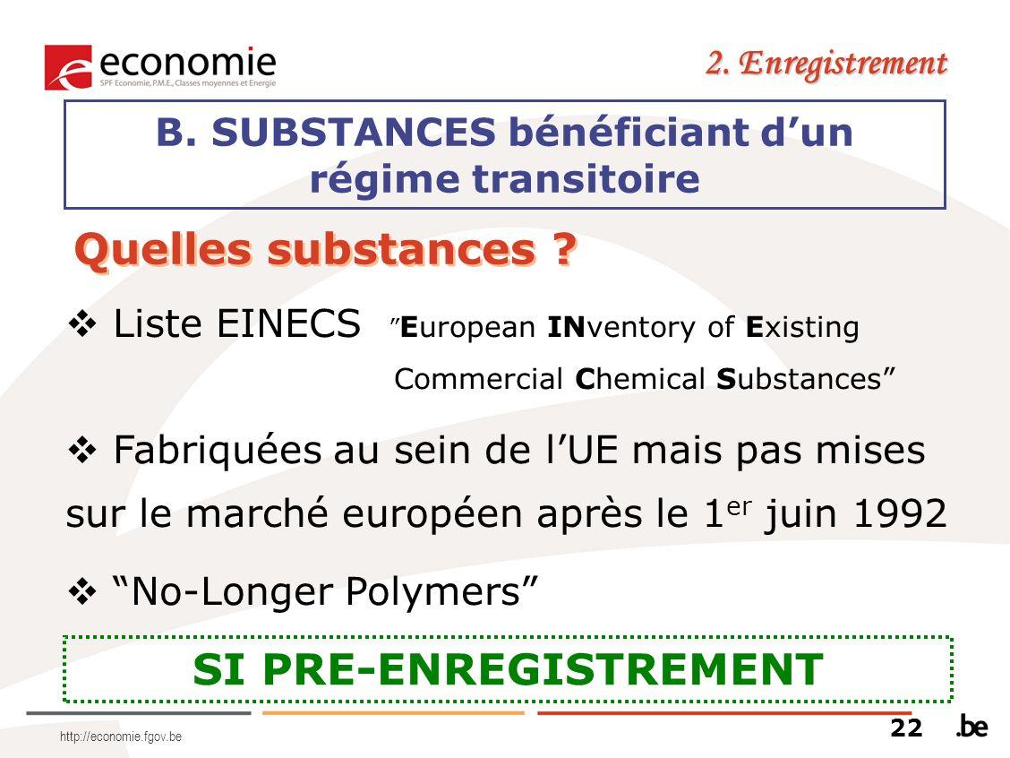 http://economie.fgov.be B. SUBSTANCES bénéficiant dun régime transitoire 2. Enregistrement SI PRE-ENREGISTREMENT Quelles substances ? Liste EINECS Eur