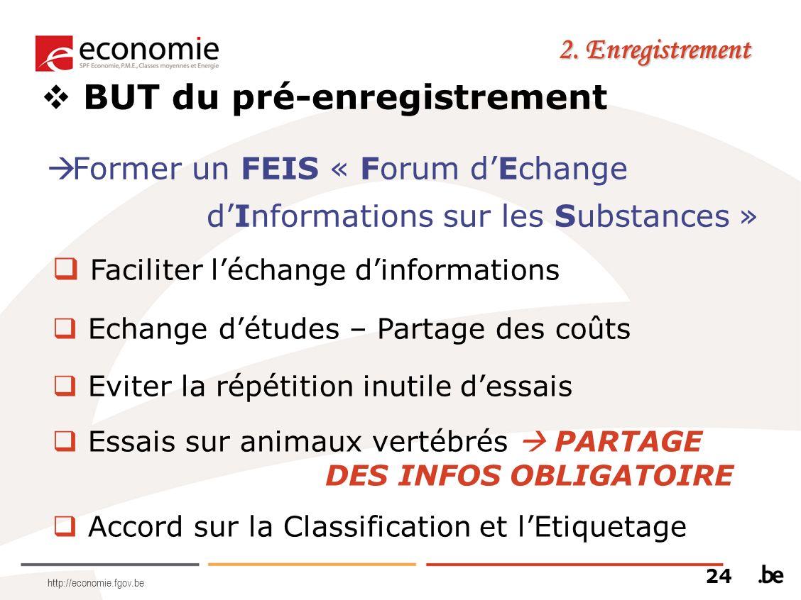 http://economie.fgov.be 2. Enregistrement BUT du pré-enregistrement Former un FEIS « Forum dEchange dInformations sur les Substances » Faciliter lécha