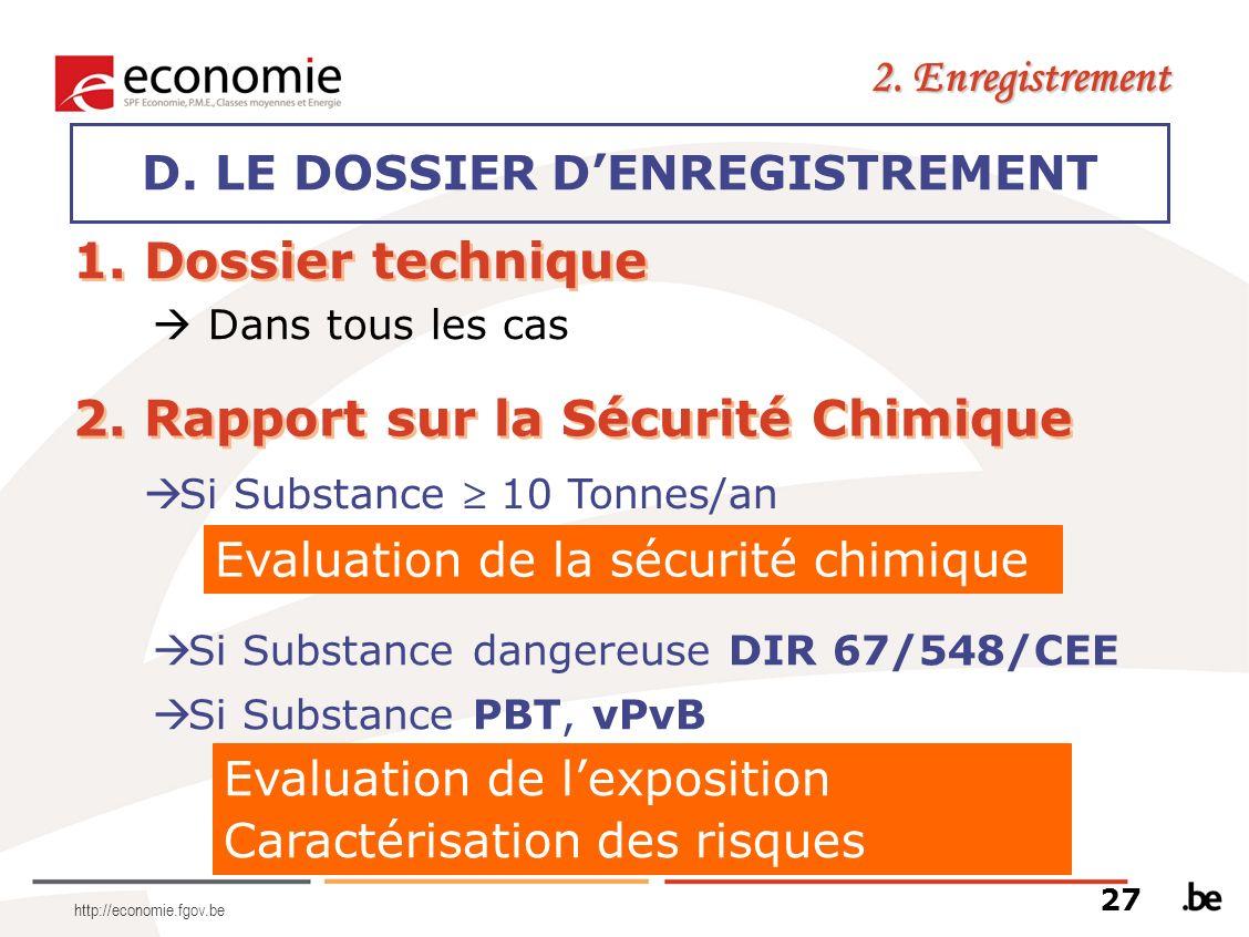 http://economie.fgov.be D. LE DOSSIER DENREGISTREMENT 2. Enregistrement 1. Dossier technique Dans tous les cas 2. Rapport sur la Sécurité Chimique Si