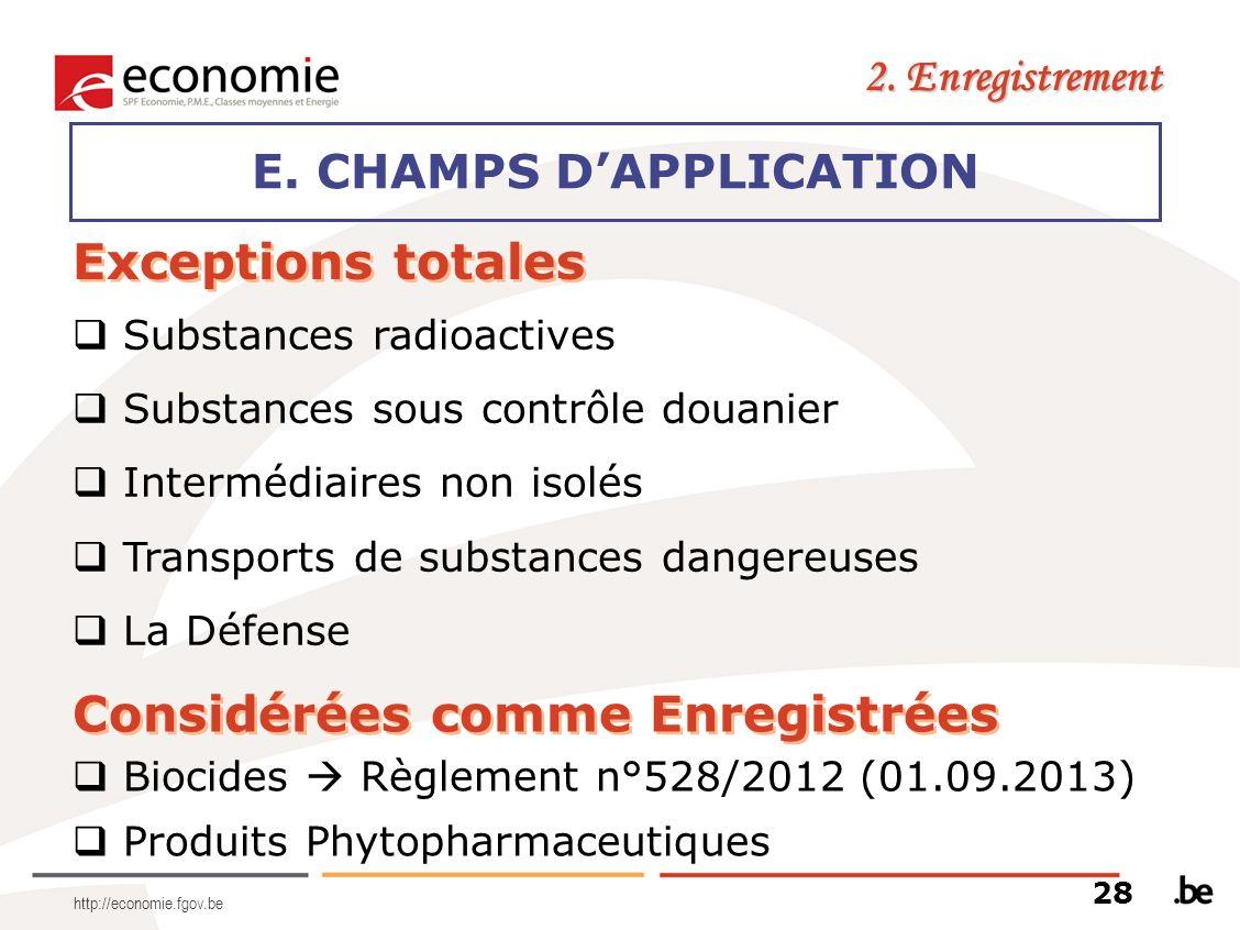 http://economie.fgov.be E. CHAMPS DAPPLICATION 2. Enregistrement Exceptions totales Substances radioactives Substances sous contrôle douanier Interméd