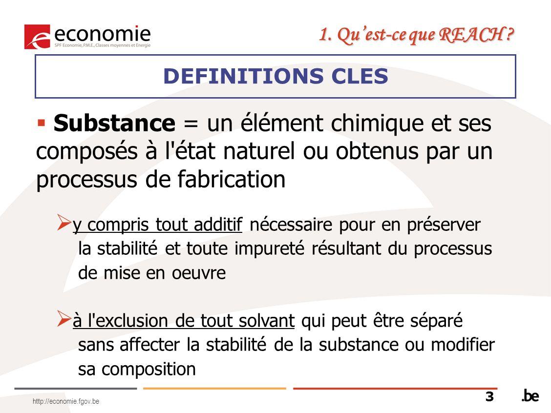 http://economie.fgov.be Substance = un élément chimique et ses composés à l'état naturel ou obtenus par un processus de fabrication 1. Quest-ce que RE