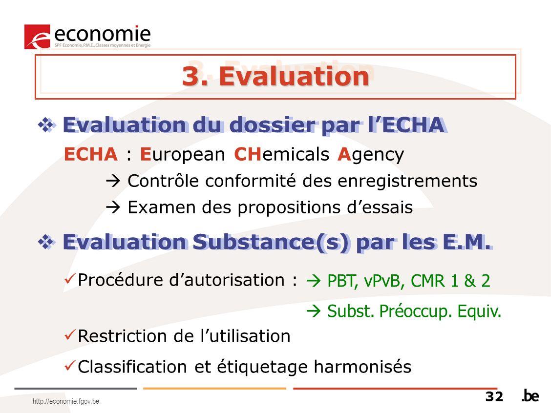 http://economie.fgov.be 3. Evaluation Evaluation du dossier par lECHA ECHA : European CHemicals Agency Contrôle conformité des enregistrements Examen