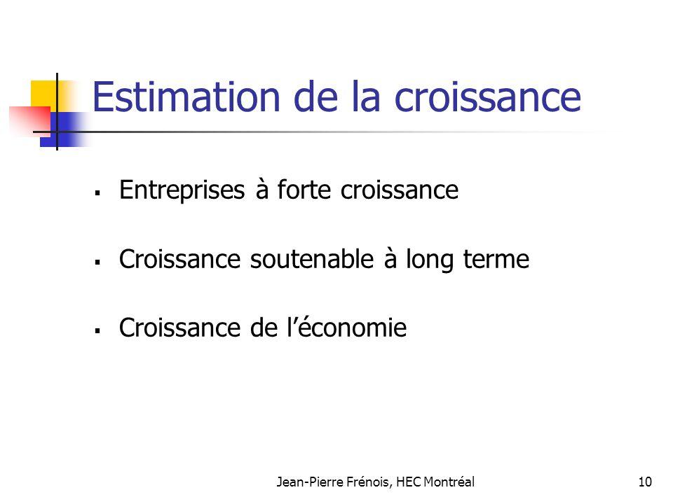 Jean-Pierre Frénois, HEC Montréal10 Estimation de la croissance Entreprises à forte croissance Croissance soutenable à long terme Croissance de léconomie