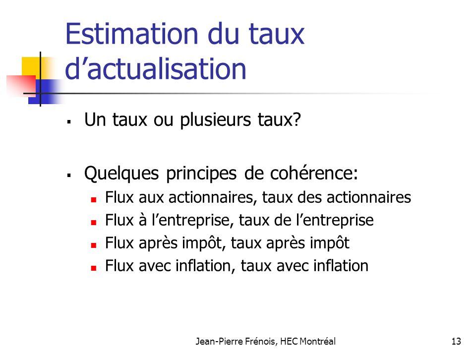Jean-Pierre Frénois, HEC Montréal13 Estimation du taux dactualisation Un taux ou plusieurs taux.