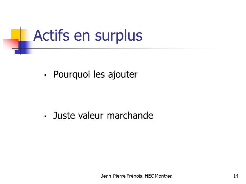 Jean-Pierre Frénois, HEC Montréal14 Actifs en surplus Pourquoi les ajouter Juste valeur marchande