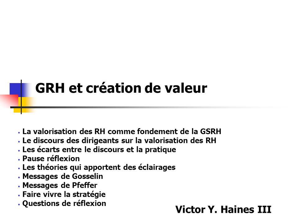 GRH et création de valeur La valorisation des RH comme fondement de la GSRH Le discours des dirigeants sur la valorisation des RH Les écarts entre le
