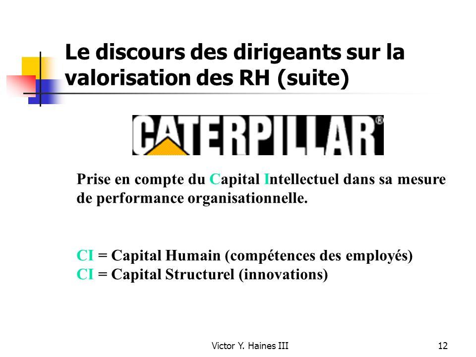 Victor Y. Haines III12 Le discours des dirigeants sur la valorisation des RH (suite) Prise en compte du Capital Intellectuel dans sa mesure de perform