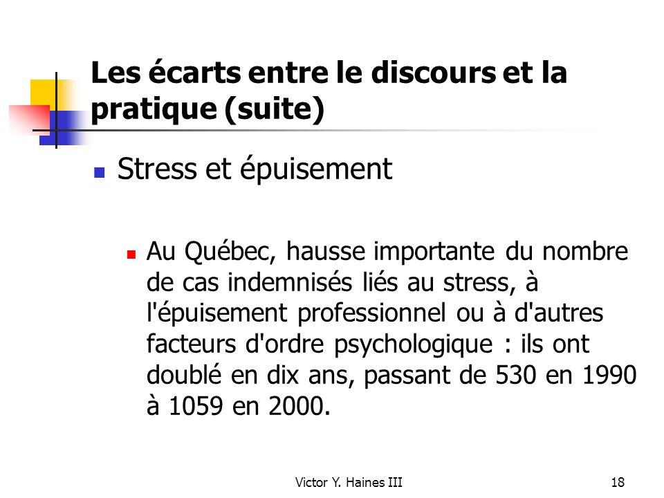 Victor Y. Haines III18 Les écarts entre le discours et la pratique (suite) Stress et épuisement Au Québec, hausse importante du nombre de cas indemnis