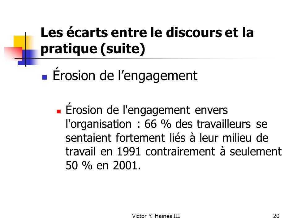 Victor Y. Haines III20 Les écarts entre le discours et la pratique (suite) Érosion de lengagement Érosion de l'engagement envers l'organisation : 66 %