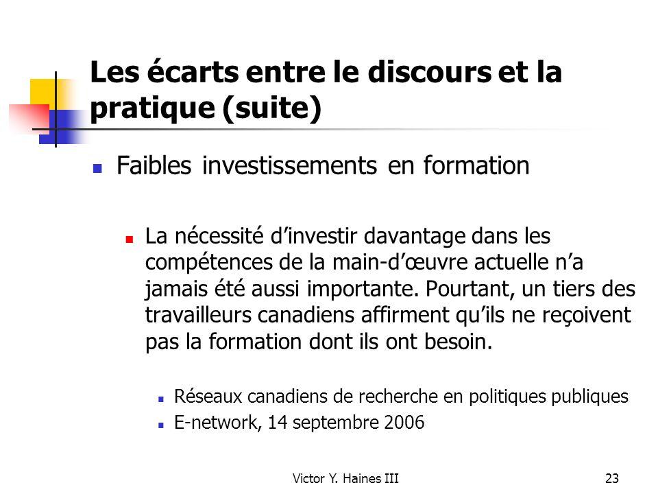 Victor Y. Haines III23 Les écarts entre le discours et la pratique (suite) Faibles investissements en formation La nécessité dinvestir davantage dans