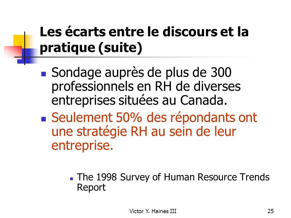 Victor Y. Haines III25 Les écarts entre le discours et la pratique (suite) Sondage auprès de plus de 300 professionnels en RH de diverses entreprises