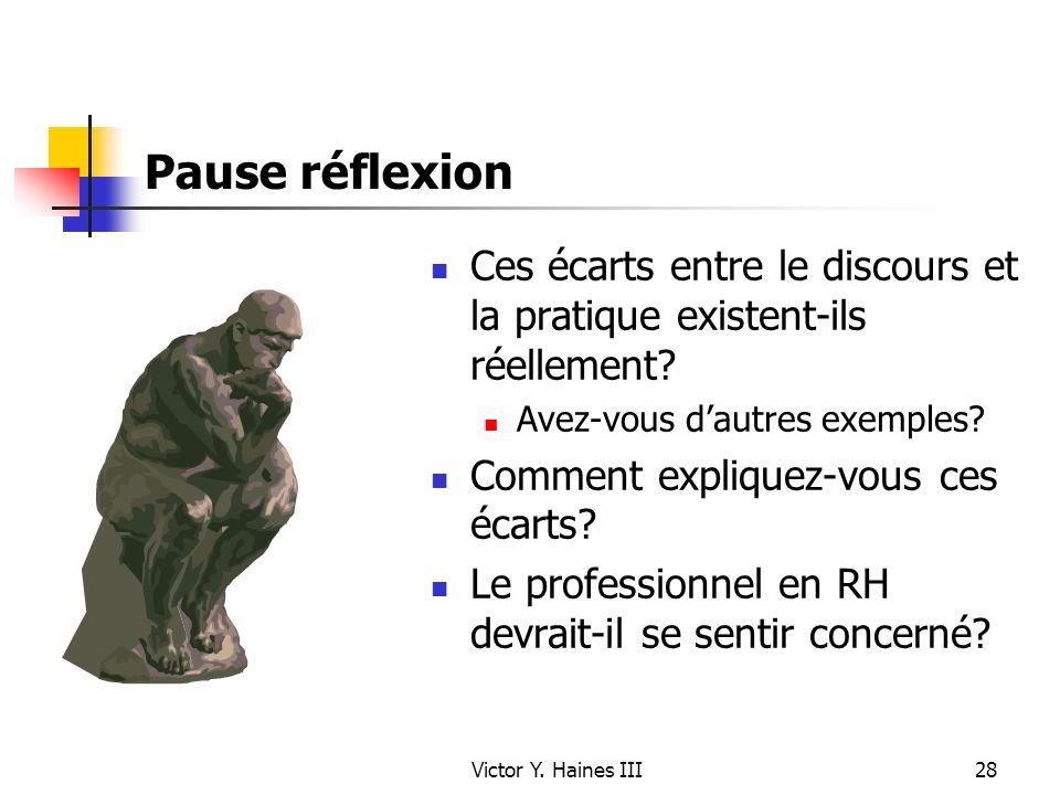 Victor Y. Haines III28 Pause réflexion Ces écarts entre le discours et la pratique existent-ils réellement? Avez-vous dautres exemples? Comment expliq
