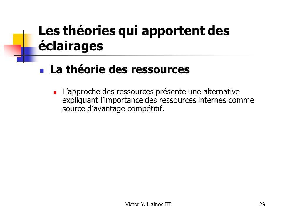 Victor Y. Haines III29 Les théories qui apportent des éclairages La théorie des ressources Lapproche des ressources présente une alternative expliquan