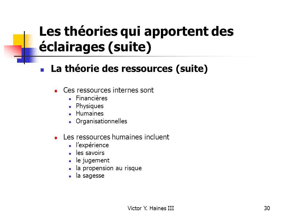 Victor Y. Haines III30 Les théories qui apportent des éclairages (suite) La théorie des ressources (suite) Ces ressources internes sont Financières Ph