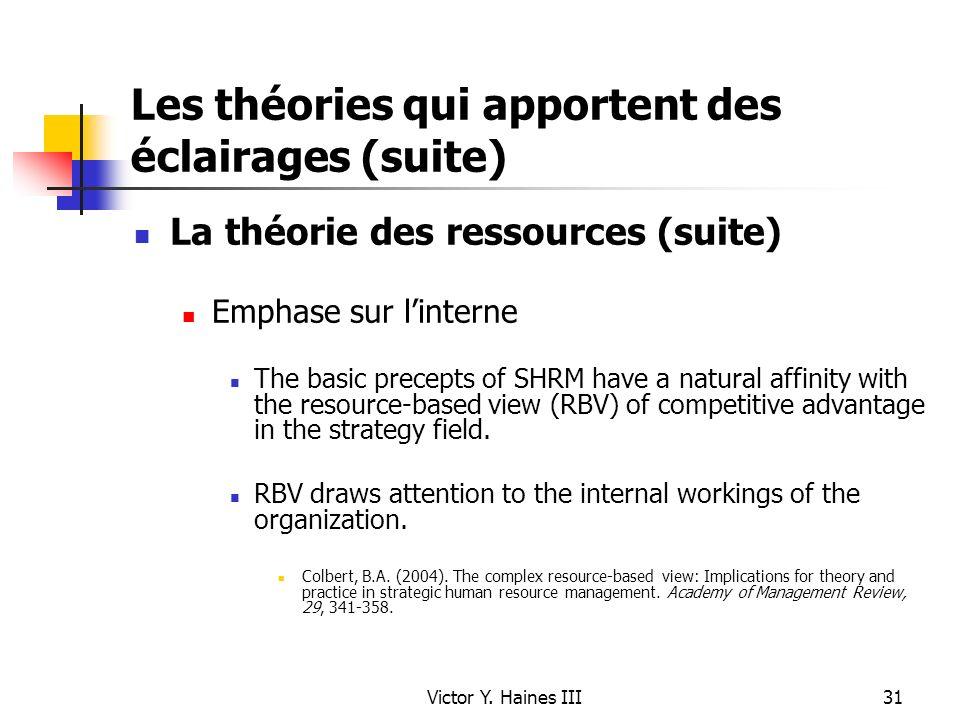 Victor Y. Haines III31 Les théories qui apportent des éclairages (suite) La théorie des ressources (suite) Emphase sur linterne The basic precepts of