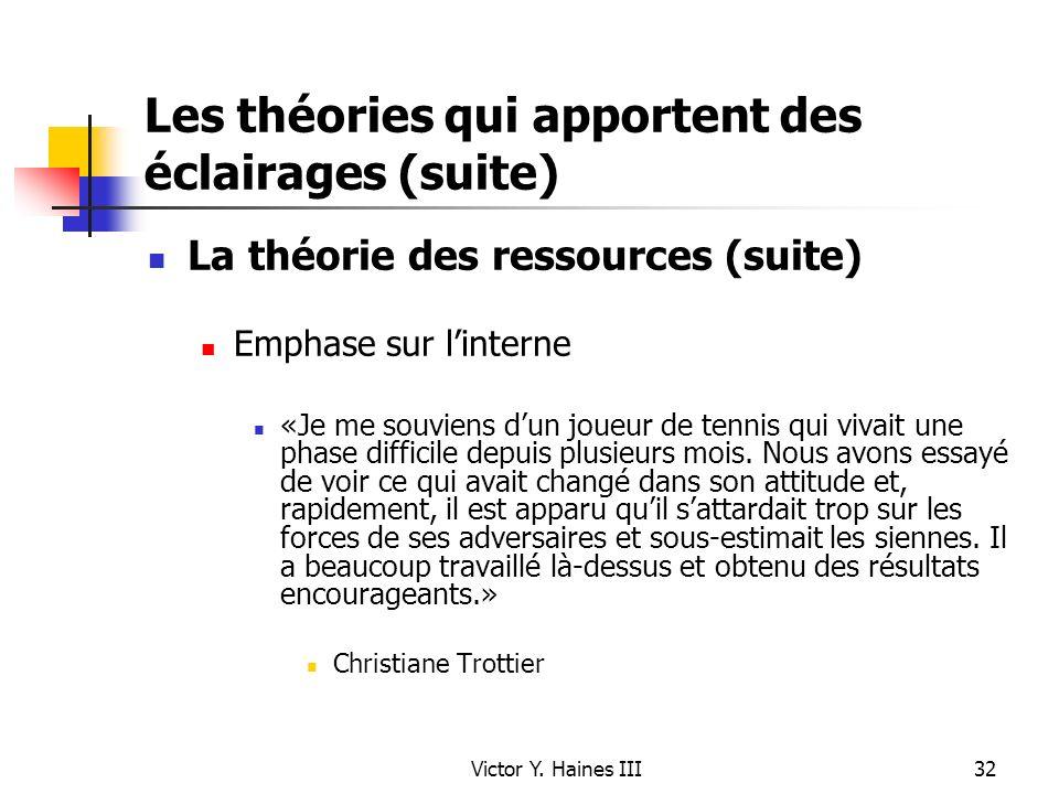 Victor Y. Haines III32 Les théories qui apportent des éclairages (suite) La théorie des ressources (suite) Emphase sur linterne «Je me souviens dun jo