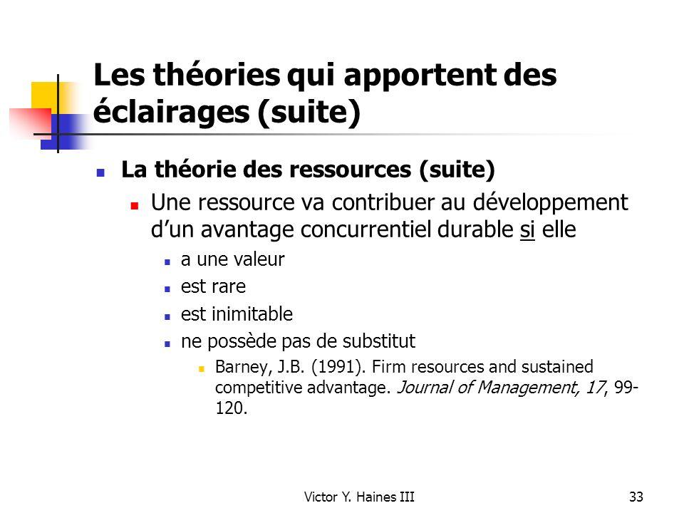 Victor Y. Haines III33 Les théories qui apportent des éclairages (suite) La théorie des ressources (suite) Une ressource va contribuer au développemen