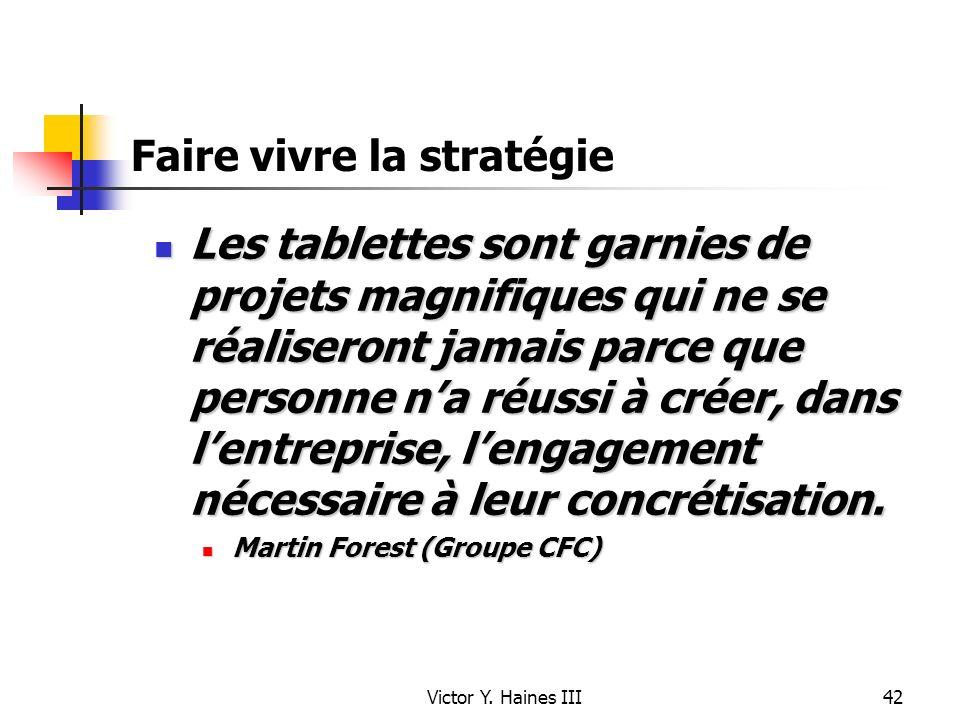 Victor Y. Haines III42 Faire vivre la stratégie Les tablettes sont garnies de projets magnifiques qui ne se réaliseront jamais parce que personne na r