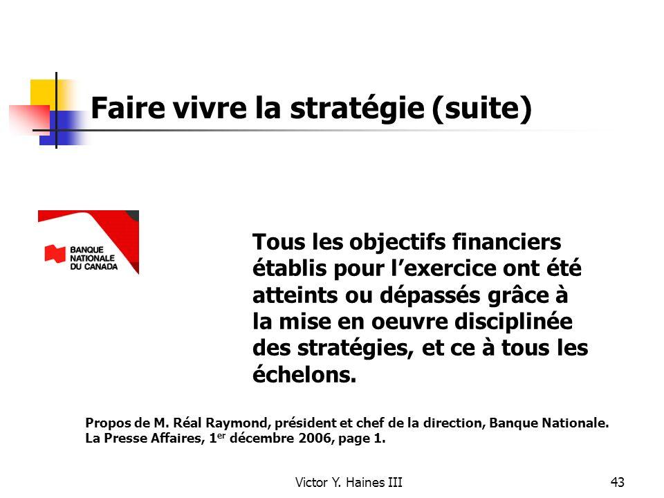 Victor Y. Haines III43 Faire vivre la stratégie (suite) Tous les objectifs financiers établis pour lexercice ont été atteints ou dépassés grâce à la m