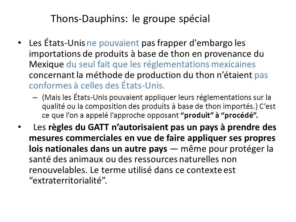 Thons-Dauphins: le groupe spécial Les États-Unis ne pouvaient pas frapper d embargo les importations de produits à base de thon en provenance du Mexique du seul fait que les réglementations mexicaines concernant la méthode de production du thon nétaient pas conformes à celles des États-Unis.