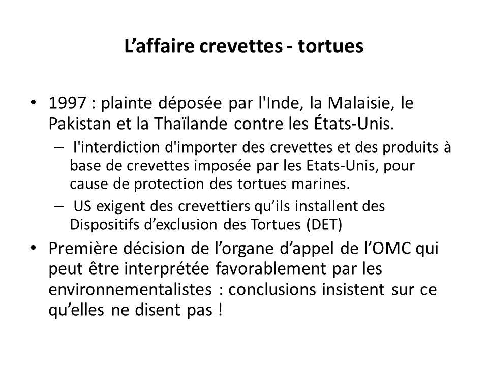 Laffaire crevettes - tortues 1997 : plainte déposée par l Inde, la Malaisie, le Pakistan et la Thaïlande contre les États-Unis.