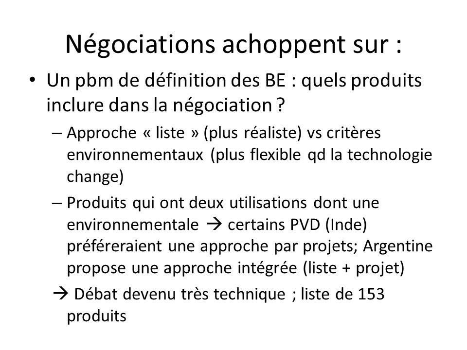 Négociations achoppent sur : Un pbm de définition des BE : quels produits inclure dans la négociation .