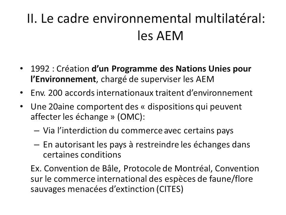 II. Le cadre environnemental multilatéral: les AEM 1992 : Création dun Programme des Nations Unies pour lEnvironnement, chargé de superviser les AEM E