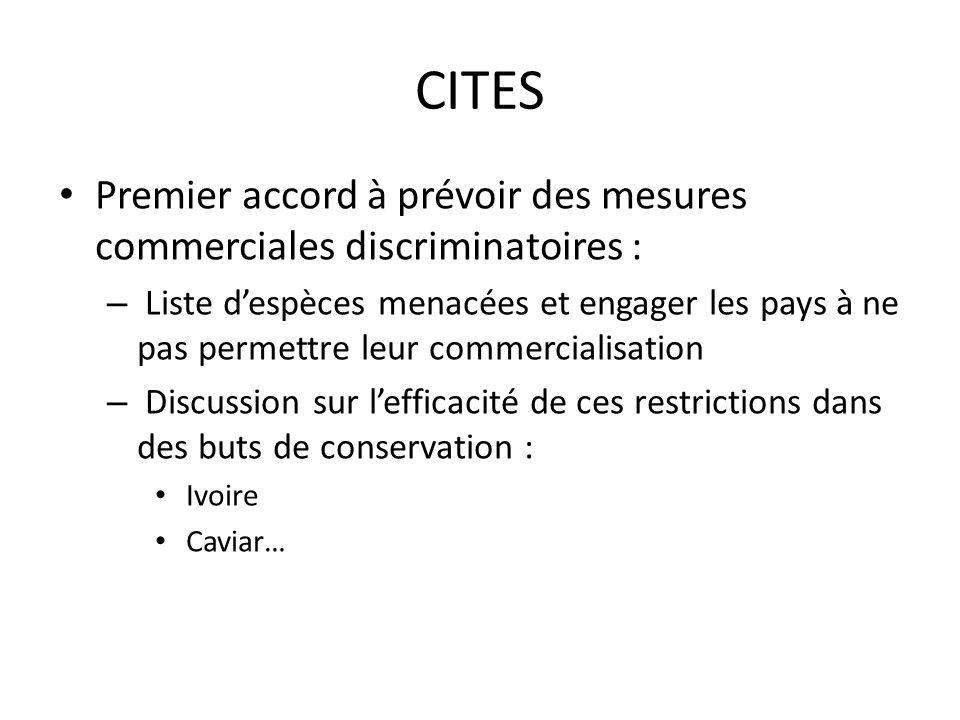 CITES Premier accord à prévoir des mesures commerciales discriminatoires : – Liste despèces menacées et engager les pays à ne pas permettre leur commercialisation – Discussion sur lefficacité de ces restrictions dans des buts de conservation : Ivoire Caviar…