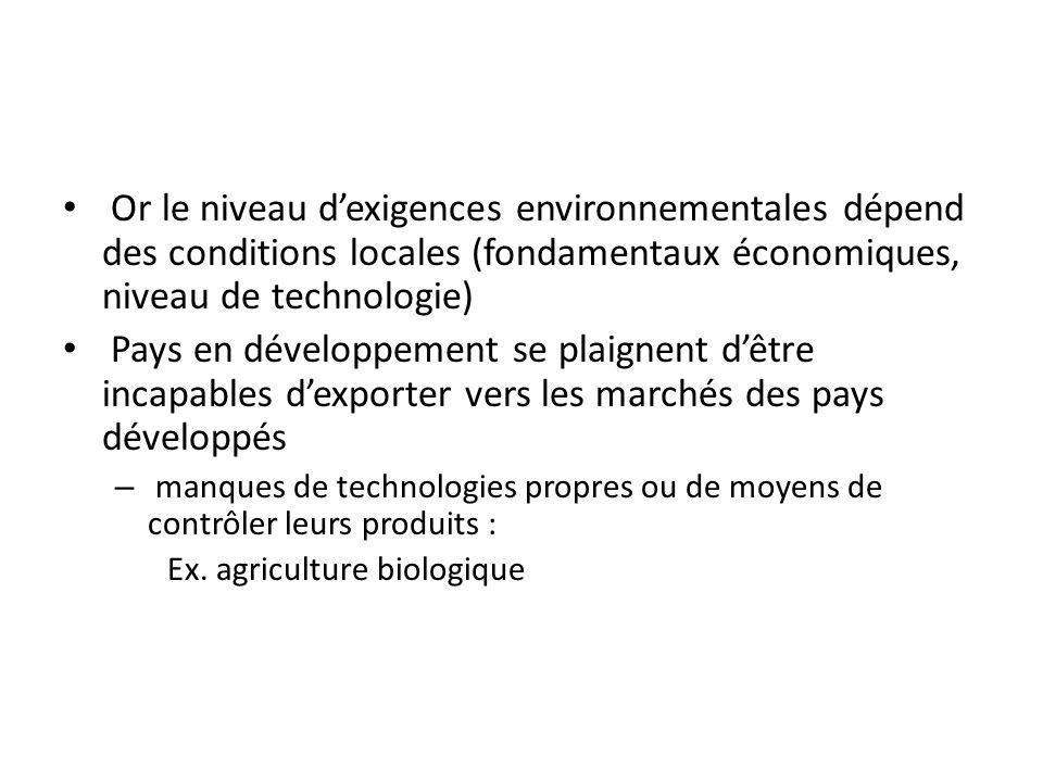 Pourquoi une différence de traitement entre commerce et environnement au plan international .