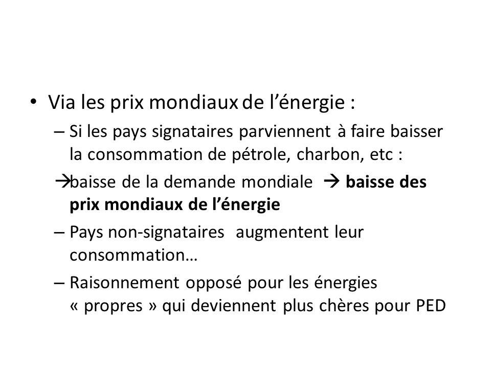 Via les prix mondiaux de lénergie : – Si les pays signataires parviennent à faire baisser la consommation de pétrole, charbon, etc : baisse de la demande mondiale baisse des prix mondiaux de lénergie – Pays non-signataires augmentent leur consommation… – Raisonnement opposé pour les énergies « propres » qui deviennent plus chères pour PED