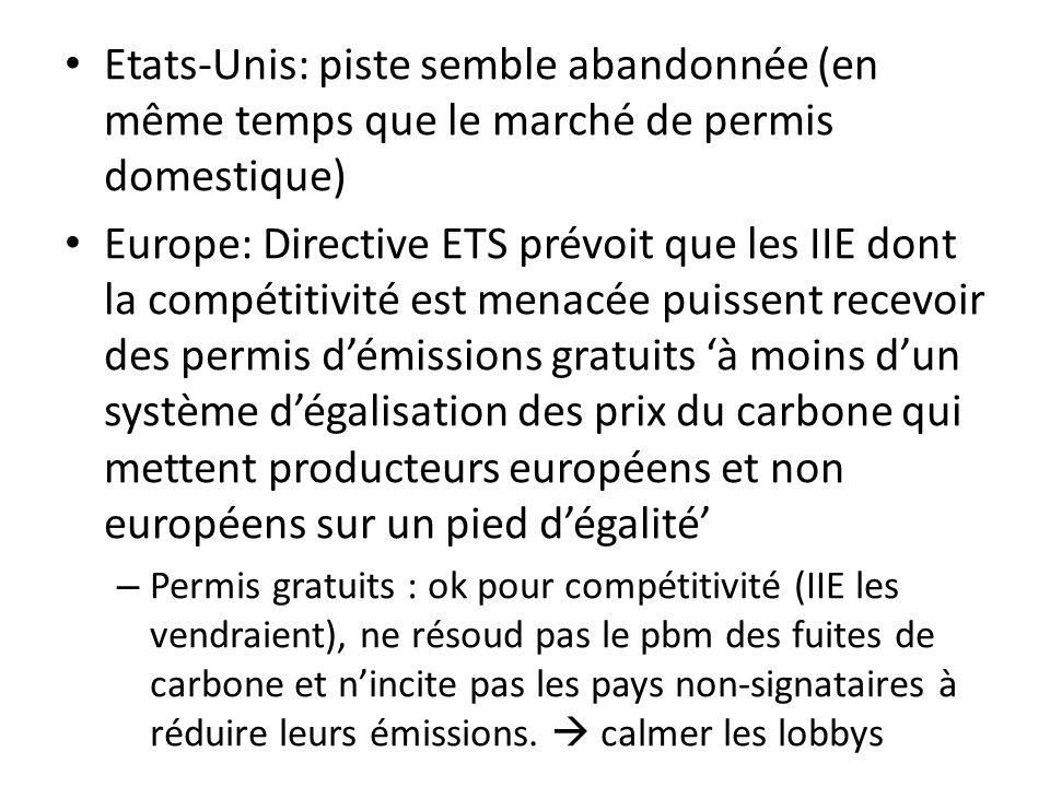 Etats-Unis: piste semble abandonnée (en même temps que le marché de permis domestique) Europe: Directive ETS prévoit que les IIE dont la compétitivité est menacée puissent recevoir des permis démissions gratuits à moins dun système dégalisation des prix du carbone qui mettent producteurs européens et non européens sur un pied dégalité – Permis gratuits : ok pour compétitivité (IIE les vendraient), ne résoud pas le pbm des fuites de carbone et nincite pas les pays non-signataires à réduire leurs émissions.