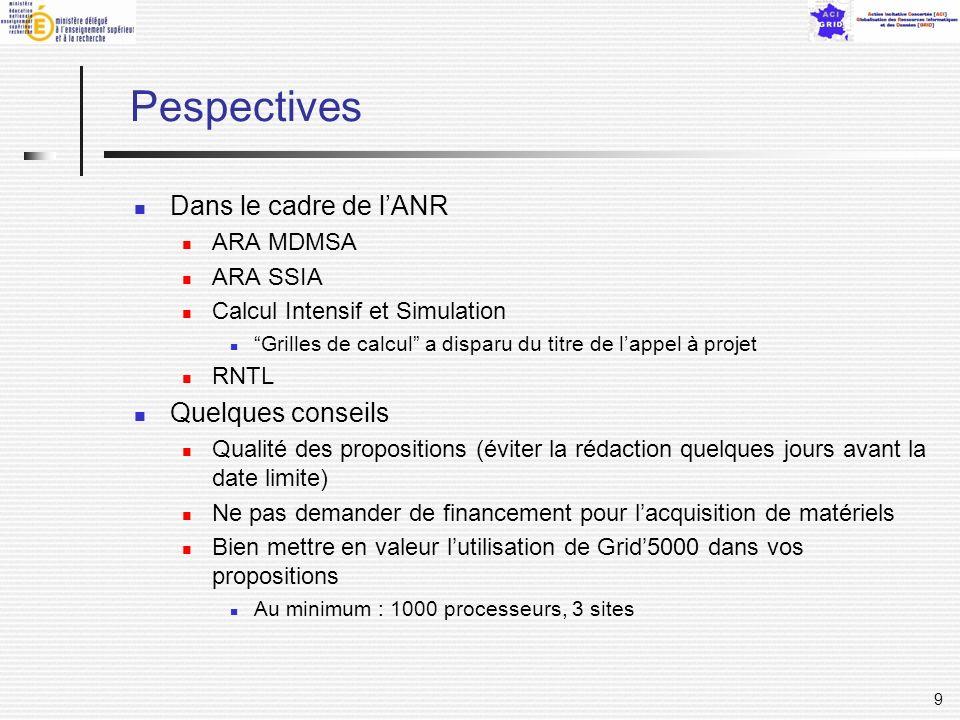 9 Pespectives Dans le cadre de lANR ARA MDMSA ARA SSIA Calcul Intensif et Simulation Grilles de calcul a disparu du titre de lappel à projet RNTL Quel