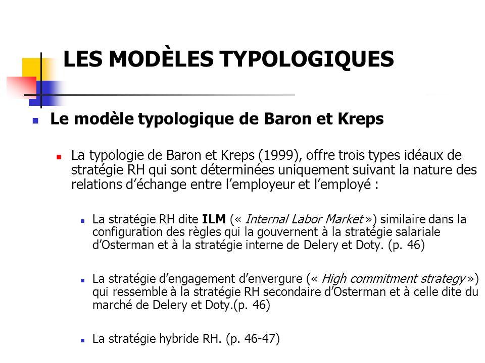 LES MODÈLES TYPOLOGIQUES En conclusion, noton que malgré leur différence, les trois typologies revues – celle dOsterman (1987), celle de Delery et Doty (1996) et enfin celle de Baron et Kreps (1999)- sont à plusieurs égard similaires : Elles dérivent toutes dune conception de la firme basée sur la théorie des ressources.