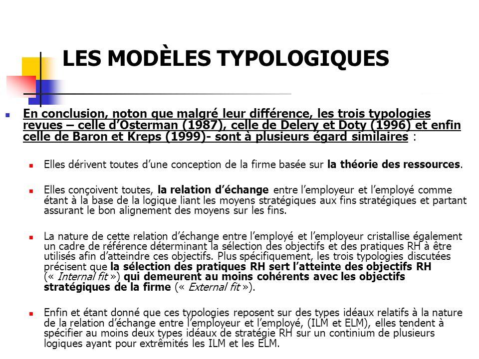 LES MODÈLES TYPOLOGIQUES Les modèles typologiques basés sur la théorie du contrôle (« Employee Control Models ») Ce second groupe de chercheurs base leur cadre danalyse des stratégies RH sur les mêmes trois paramètre discutés précédemment : les moyens, les fin et, les logiques.