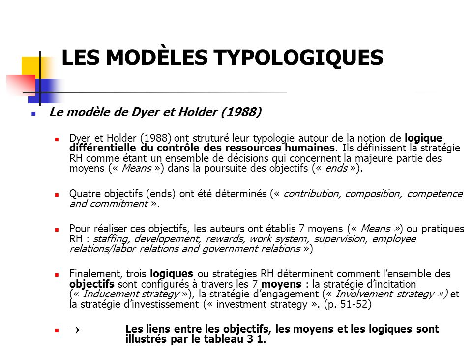LES MODÈLES TYPOLOGIQUES Le modèle de Dyer et Holder (1988) Dyer et Holder (1988) ont struturé leur typologie autour de la notion de logique différent