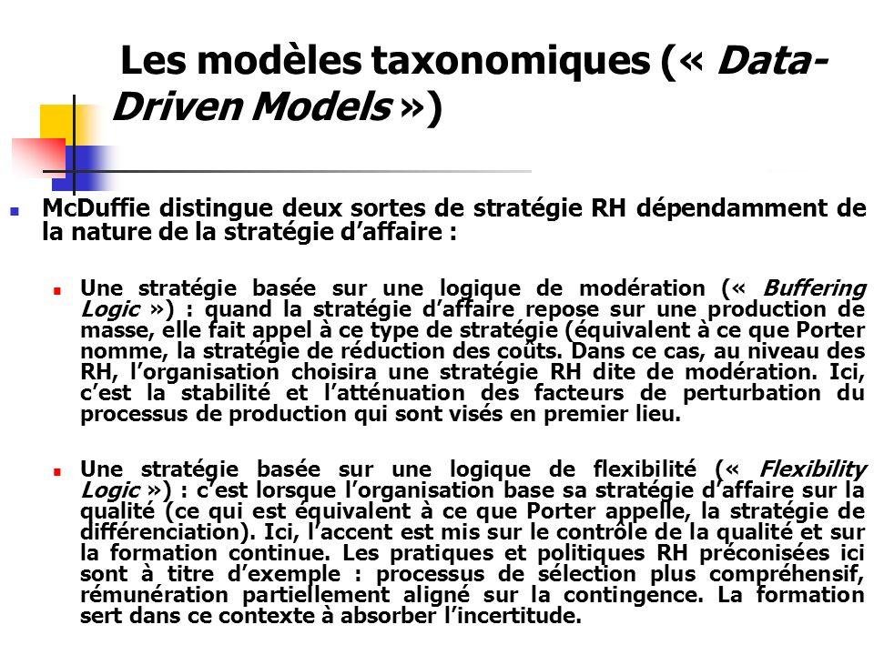 Les modèles taxonomiques (« Data- Driven Models ») La validation de ces stratégies RH : « mass production » et « flexible production » : à travers une recherche internationale (un échantillon de 62 unités dassemblage de voiture) une troisième stratégie intermédiaire a émergé : la stratégie de transition (« transition strategy »).