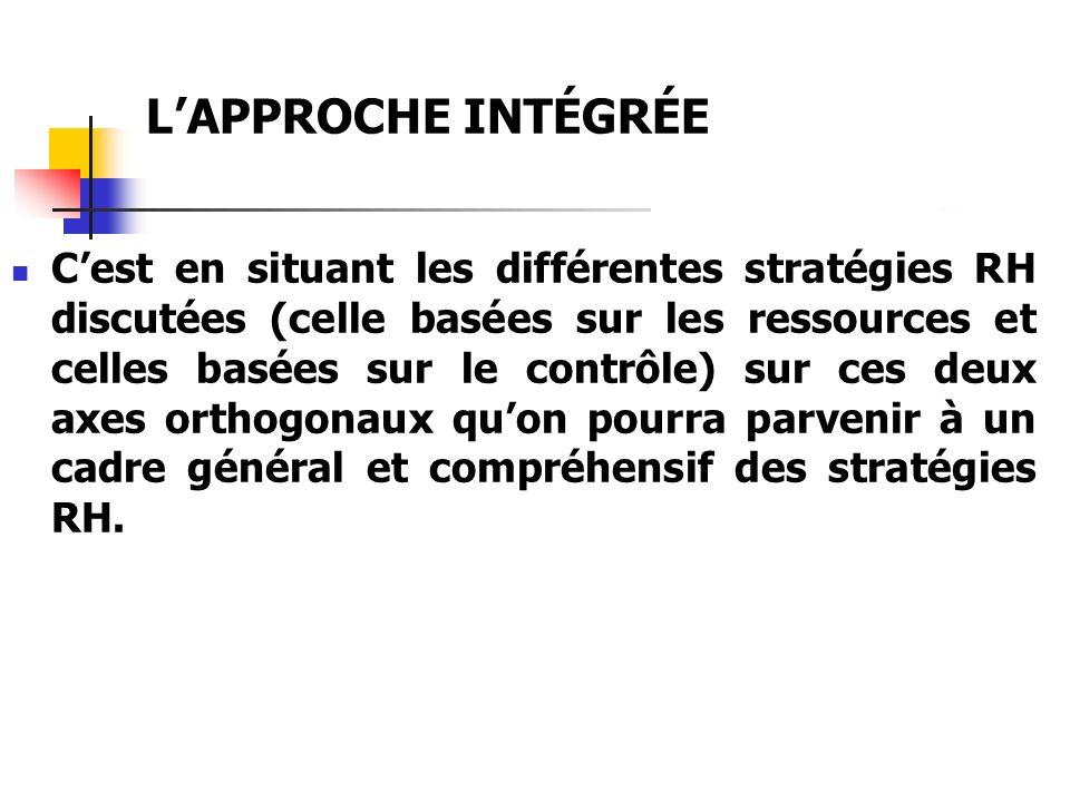 LAPPROCHE INTÉGRÉE Cest en situant les différentes stratégies RH discutées (celle basées sur les ressources et celles basées sur le contrôle) sur ces