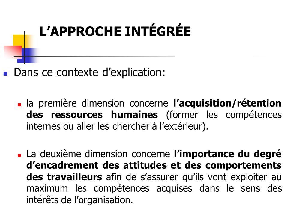 LAPPROCHE INTÉGRÉE Dans ce contexte dexplication: la première dimension concerne lacquisition/rétention des ressources humaines (former les compétence