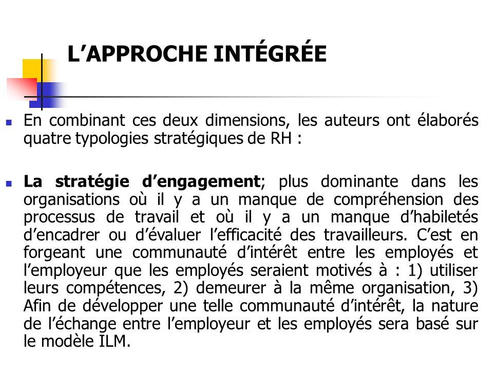 LAPPROCHE INTÉGRÉE La stratégie secondaire (« Secondary strategy »); correspond à des organisations considérant comme avantage compétitif le fait davoir des processus de travail routinisés, à bas coût et stable.