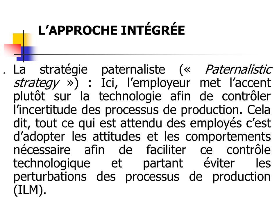 LAPPROCHE INTÉGRÉE La stratégie paternaliste (« Paternalistic strategy ») : Ici, lemployeur met laccent plutôt sur la technologie afin de contrôler li
