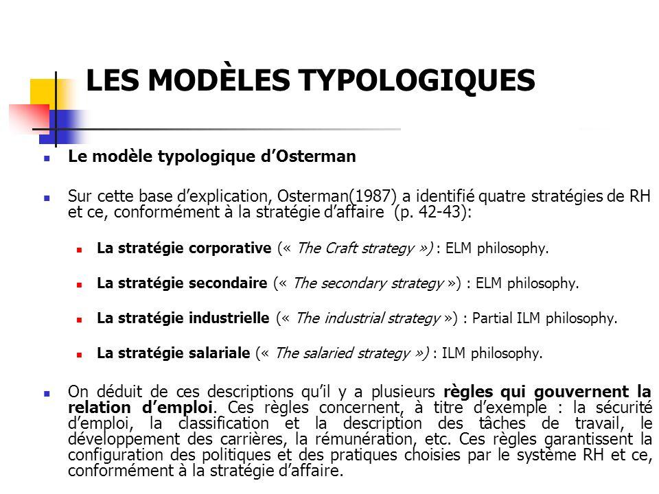 LES MODÈLES TYPOLOGIQUES Le modèle typologique dOsterman Sur cette base dexplication, Osterman(1987) a identifié quatre stratégies de RH et ce, confor
